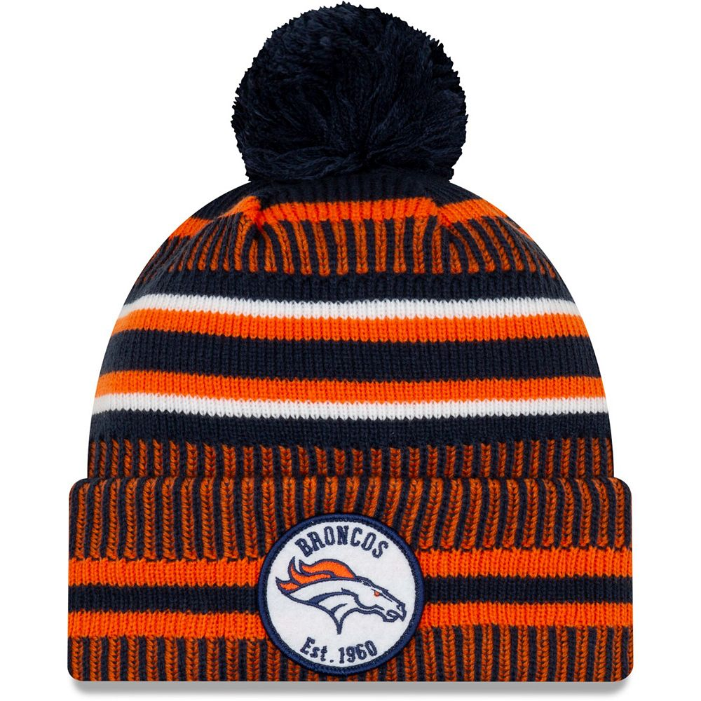 Men's New Era Orange/Navy Denver Broncos 2019 NFL Sideline Home Reverse Sport Knit Hat