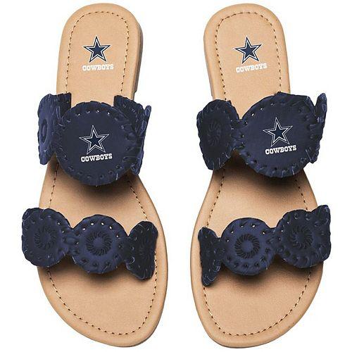Women's Dallas Cowboys Double Strap Whip Stitch Sandals
