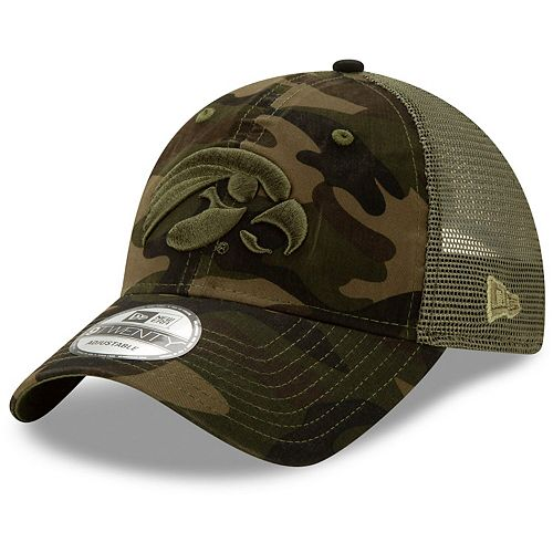 Men's New Era Camo Iowa Hawkeyes Trucker 9TWENTY Adjustable Snapback Hat