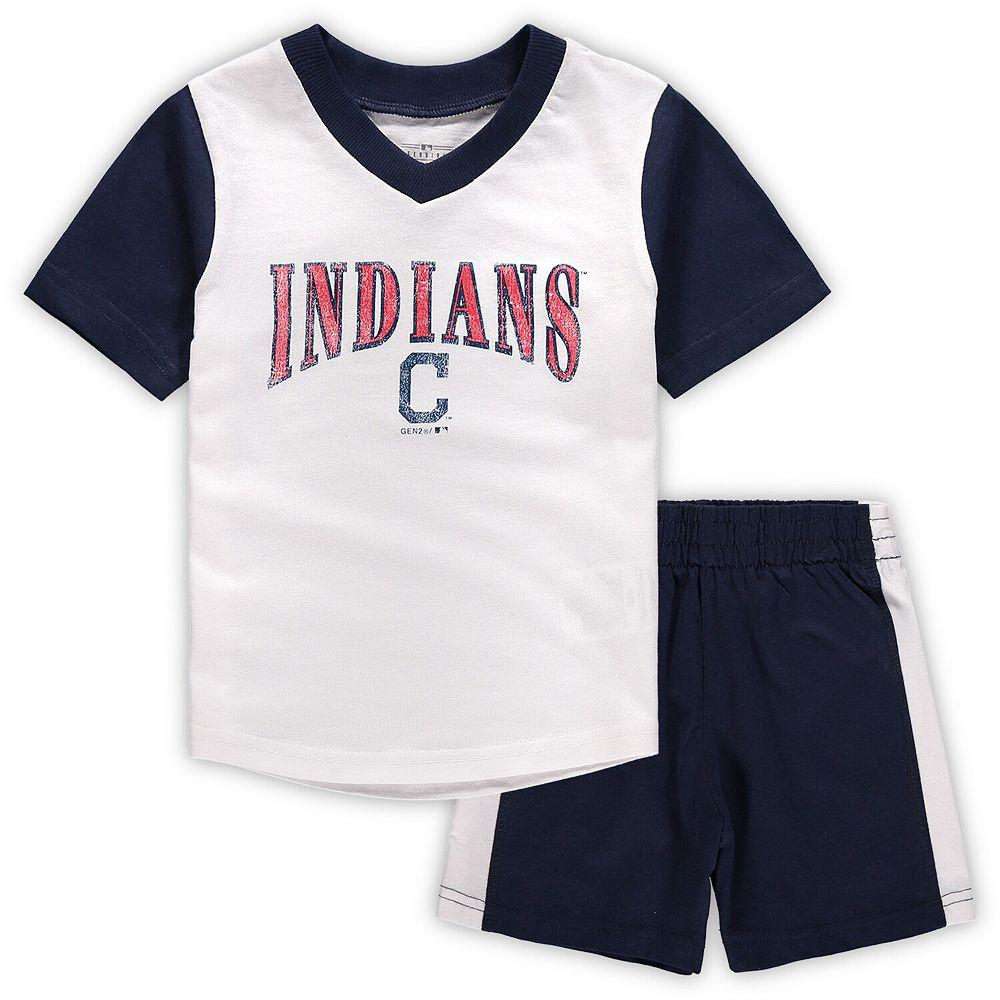 Toddler White/Navy Cleveland Indians Little Hitter V-Neck T-Shirt & Shorts Set