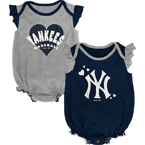 Girls Newborn & Infant Navy/Gray New York Yankees Double Trouble Two-Pack Bodysuit Set