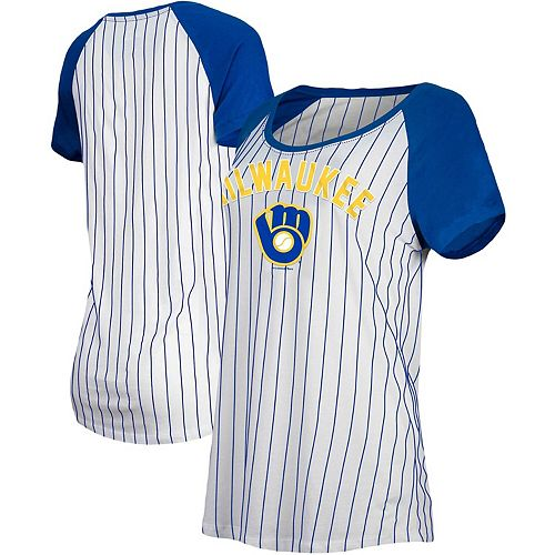 Milwaukee Brewers New Era Women's Cooperstown Pinstripe Raglan T-Shirt - White/Royal