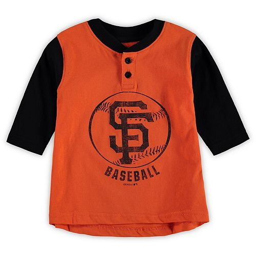 Toddler Orange/Black San Francisco Giants Cooperstown Collection Legacy Henley 3/4-Sleeve T-Shirt
