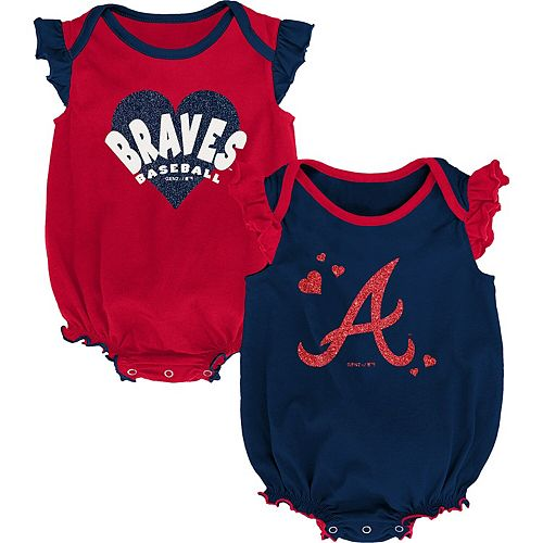 Girls Newborn & Infant Navy/Red Atlanta Braves Double Trouble Two-Pack Bodysuit Set