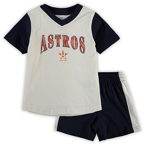 Toddler White/Navy Houston Astros Little Hitter V-Neck T-Shirt & Shorts Set