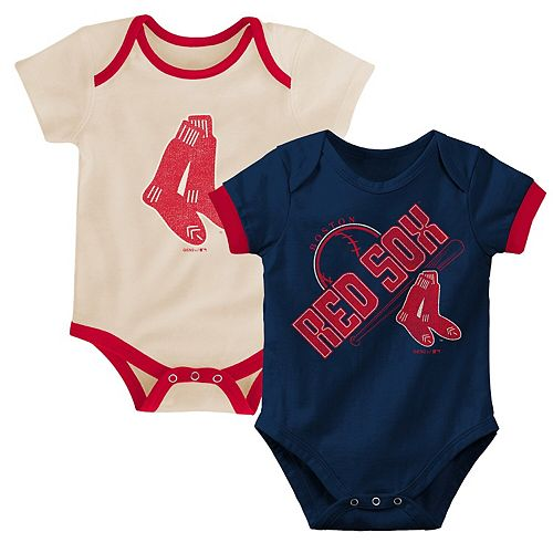 Newborn & Infant Navy/Tan Boston Red Sox Cooperstown Collection Groovy Game Two-Pack Bodysuit Set