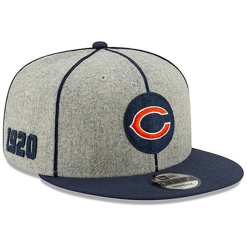 Men's New Era Heather Gray/Navy Chicago Bears 2019 NFL Sideline Home Official 9FIFTY 1920s Snapback Adjustable Hat