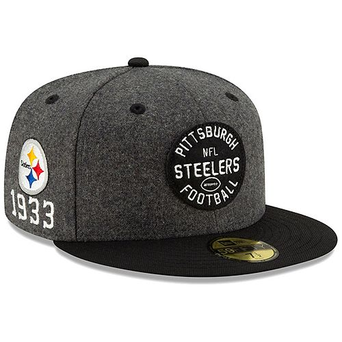 Men's New Era Heather Charcoal/Black Pittsburgh Steelers 2019 NFL Sideline Home Official 59FIFTY 1930s Fitted Hat