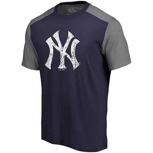 Men's Majestic Threads Navy/Gray New York Yankees Color Blocked T-Shirt