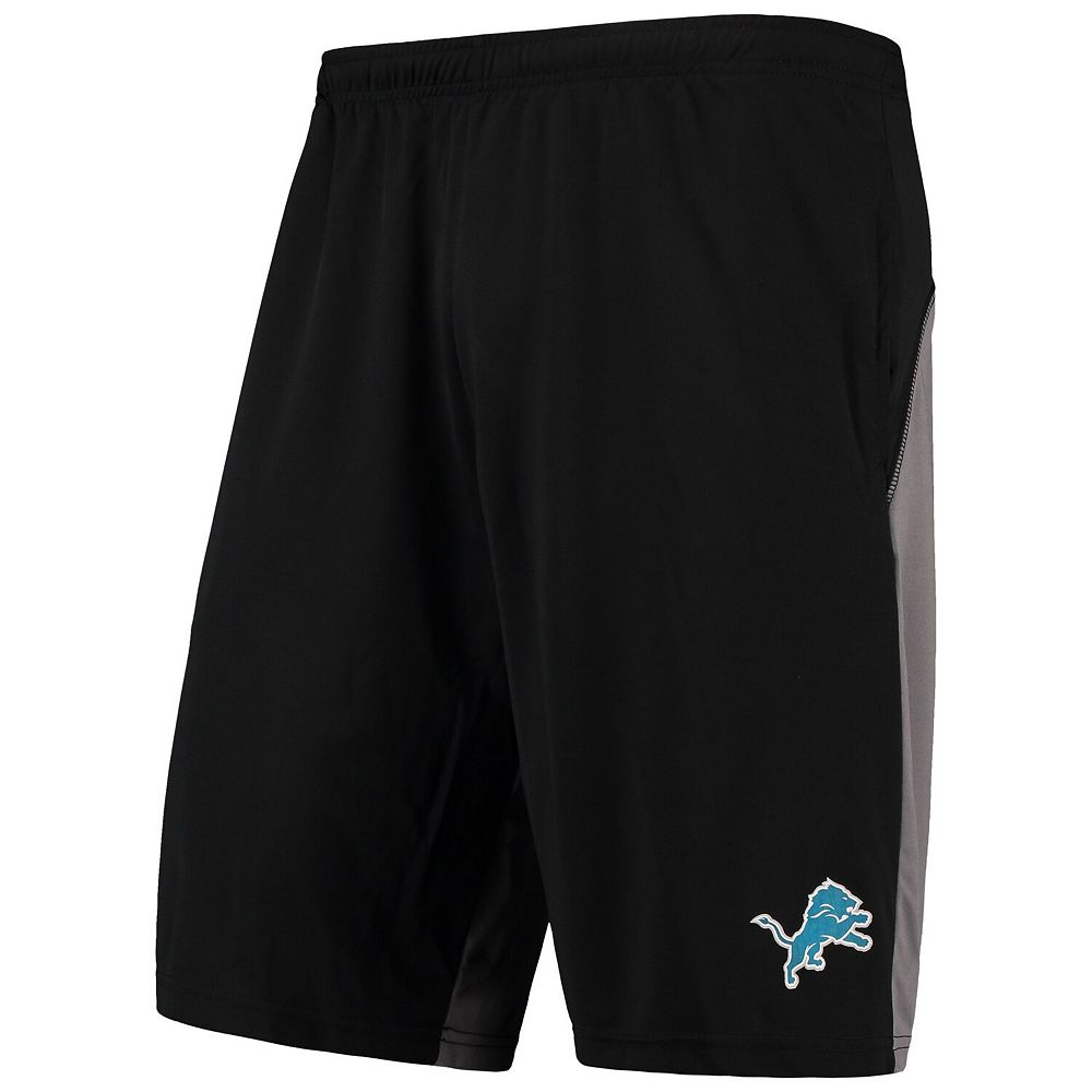 Men's Majestic Black/Gray Detroit Lions Crossbar Shorts