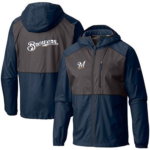 Men's Columbia Navy Milwaukee Brewers Flash Forward Team Full-Zip Windbreaker Jacket