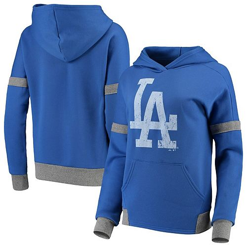 Women's Majestic Threads Royal/Gray Los Angeles Dodgers Iconic Fleece Pullover Hoodie