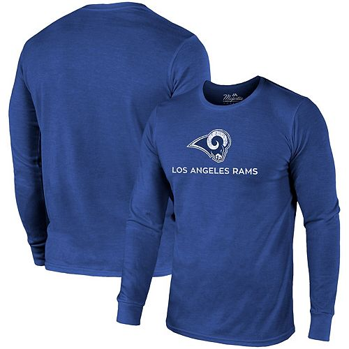 Los Angeles Rams Majestic Threads Lockup Tri-Blend Long Sleeve T-Shirt - Royal
