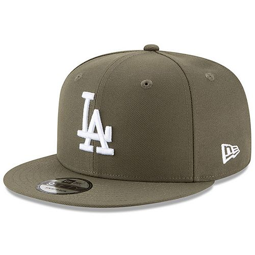Men's New Era Olive Los Angeles Dodgers Basic 9FIFTY Adjustable Snapback Hat