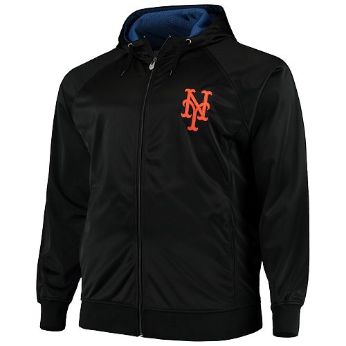 Men's Majestic Black/Royal New York Mets Big & Tall Tricot Track Jacket