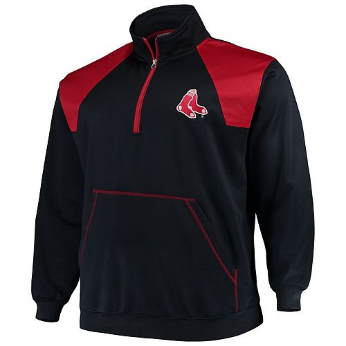 Men's Majestic Navy/Red Boston Red Sox Big & Tall Quarter-Zip Two-Tone Pullover Jacket