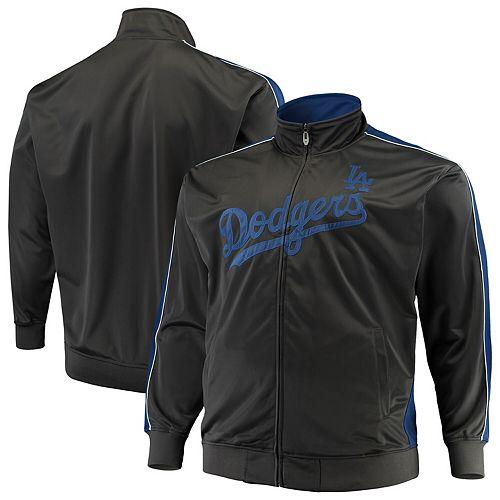 Men's Majestic Charcoal Los Angeles Dodgers Big & Tall Full-Zip Tricot Jacket