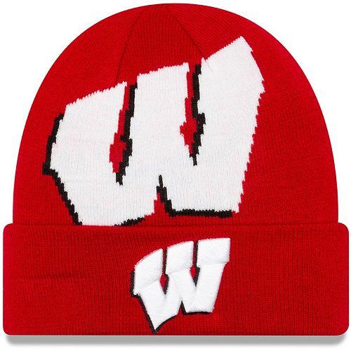 Men's New Era Red Wisconsin Badgers Logo Whiz Cuffed Knit Hat