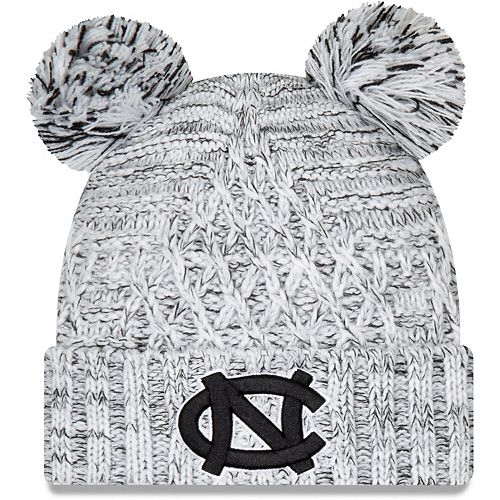 Women's New Era Gray North Carolina Tar Heels Cuffed Knit Hat with Dual Poms