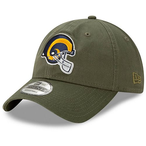 Men's New Era Olive Los Angeles Rams Helmet Logo Core Classic Tonal 9TWENTY Adjustable Hat