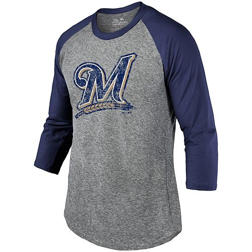 Men's Majestic Threads Heathered Gray/Navy Milwaukee Brewers Current Logo Tri-Blend 3/4-Sleeve Raglan T-Shirt