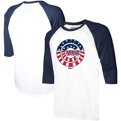 Men's Stitches White/Navy Chicago Cubs Stars & Stripes Americana Raglan 3/4-Sleeve T-Shirt