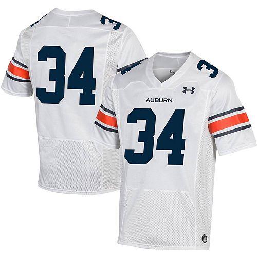 Men's Under Armour #34 White Auburn Tigers Replica Football Jersey