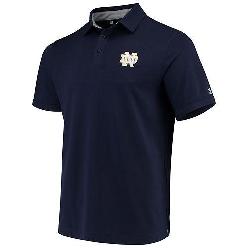 Men's Heathered Navy Notre Dame Fighting Irish Tri-Blend Performance Polo