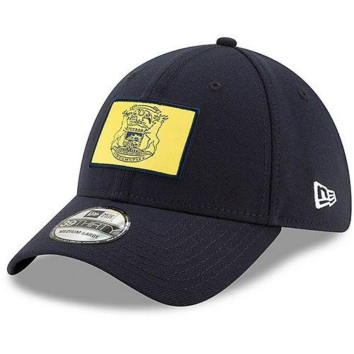 Men's New Era Navy Michigan Wolverines State Flag 39THIRTY Flex Hat