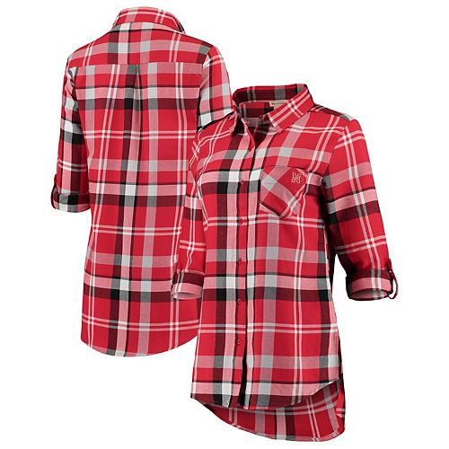 Women's Scarlet Nebraska Cornhuskers Missy Boyfriend Plaid Flannel Button-Up Long Sleeve Shirt