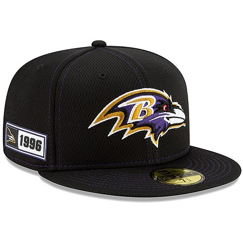 Men's New Era Black Baltimore Ravens 2019 NFL Sideline Road Official 59FIFTY Fitted Hat