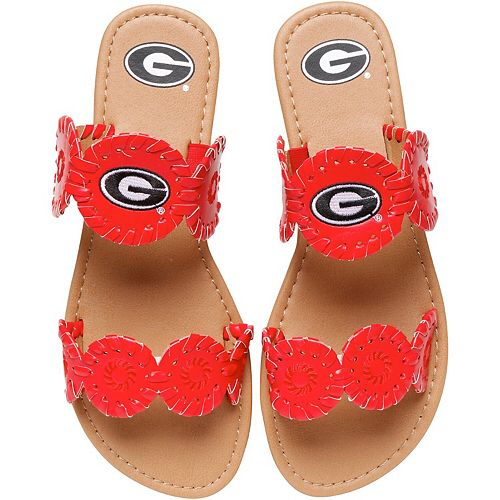Women's Georgia Bulldogs Double Strap Whip Stitch Sandals