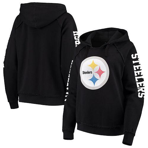 Women's New Era Black Pittsburgh Steelers Touchdown Fleece Pullover Hoodie