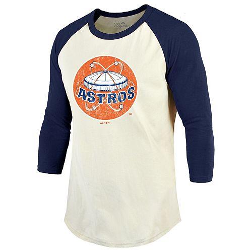 Men's Majestic Threads Cream/Navy Houston Astros Cooperstown Collection Raglan 3/4-Sleeve T-Shirt