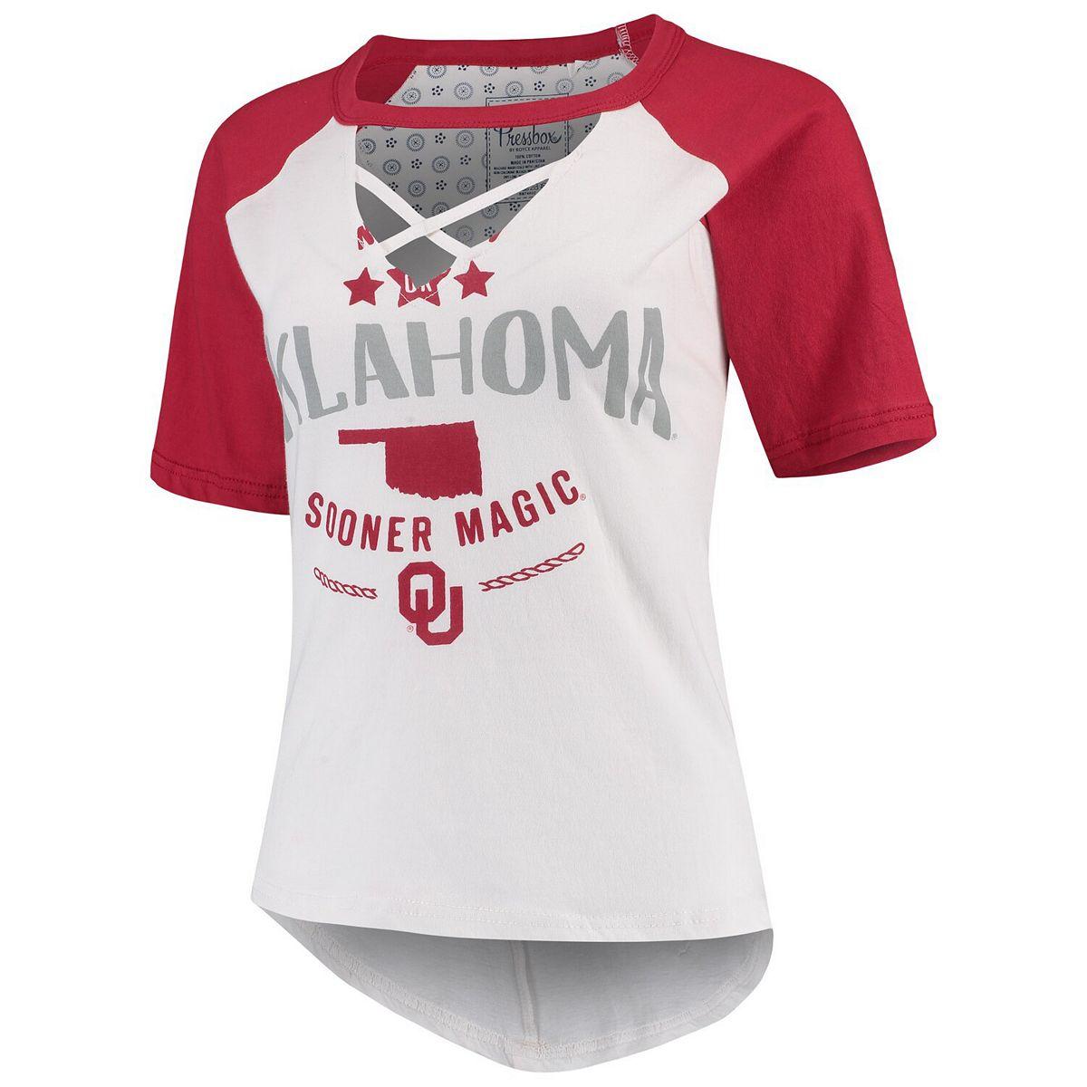 Women's Pressbox White/Crimson Oklahoma Sooners Abbie Criss-Cross Raglan Choker T-Shirt v4BhI