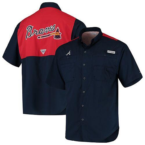 Men's Columbia Navy/Red Atlanta Braves Tamiami Colorblock Button-Down Omni-Shade Shirt