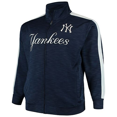 Men's Navy/White New York Yankees Big & Tall Streak Fleece Cooperstown Full Zip Jacket