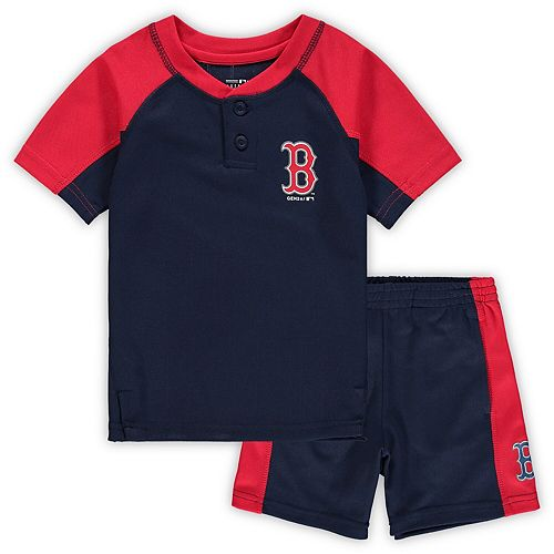 Toddler Navy Boston Red Sox Play Strong Henley T-Shirt & Shorts Set