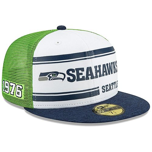 Men's New Era White/Navy Seattle Seahawks 2019 NFL Sideline Home Official 59FIFTY 1970s Fitted Hat