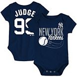 Newborn & Infant Majestic Aaron Judge Navy New York Yankees Baby Slugger Name & Number Bodysuit