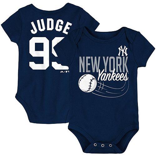 Newborn & Infant Majestic Aaron Judge Navy New York Yankees Baby Slugger Name & Number Bodysuit
