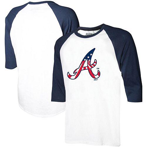 Youth Stitches White/Navy Atlanta Braves Stars & Stripes American Raglan 3/4-Sleeve T-Shirt