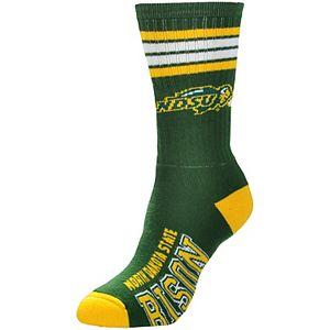 Women's For Bare Feet NDSU Bison 4-Stripe Deuce Crew Socks