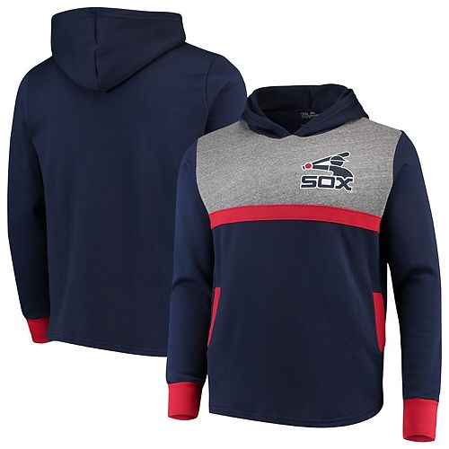 Chicago White Sox Majestic Threads Colorblocked Pullover Hoodie - Navy/Red