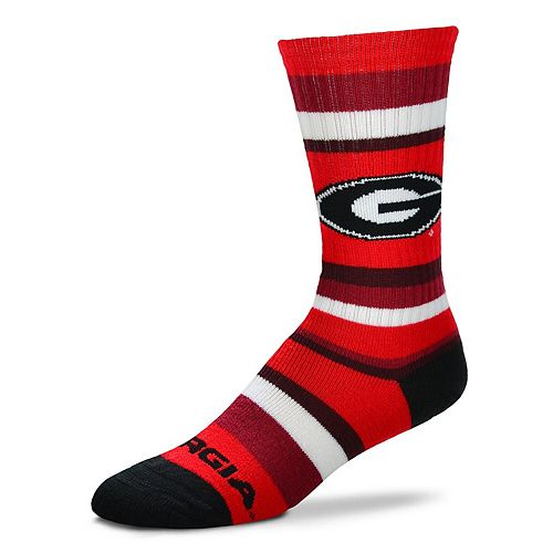Men's For Bare Feet Georgia Bulldogs Rainbow Stripe Tri-Blend Crew Socks