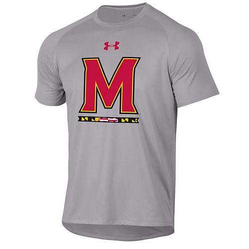 Men's Under Armour Heathered Gray Maryland Terrapins School Logo Tech 2.0 Performance T-Shirt