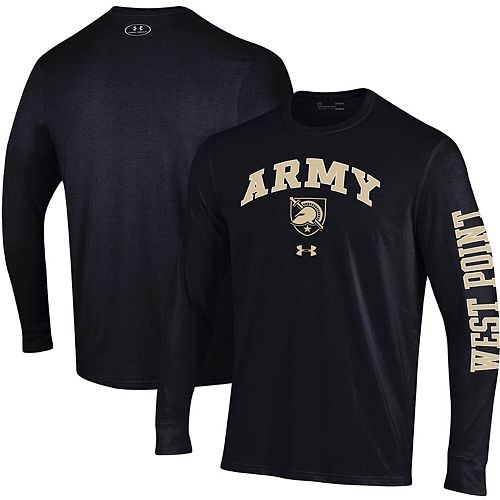 Men's Under Armour Black Army Black Knights Arched Two-Hit Long Sleeve Performance T-Shirt
