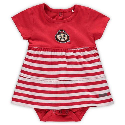 Girls Infant Garb Scarlet Ohio State Buckeyes Lizia Stripe Dress