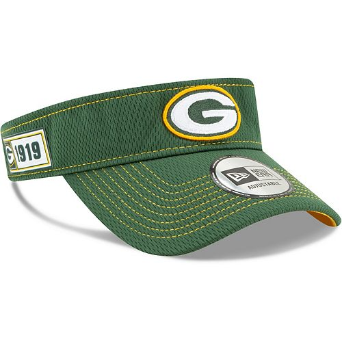 Men's New Era Green Green Bay Packers 2019 NFL Sideline Road Official Visor