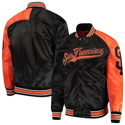 Men's G-III Sports by Carl Banks Black/Orange San Francisco Giants Starter Dugout Spring Training Raglan Full-Snap Jacket